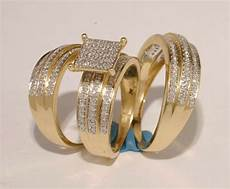 gold diamond trio bridal ring wedding engegement bride