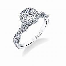 modern spiral engagement ring with halo sylvie