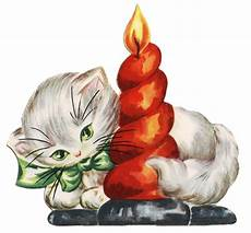 retro clip kitten with candle the