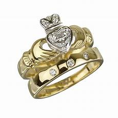 18k gold diamond claddagh engagement ring bridal