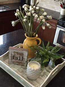 love this decor idea for a kitchen island or peninsula tray makes it easy to move out of the