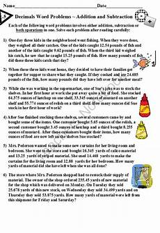 decimal word problems worksheets for grade 5 7546 decimals word problems addition and subtraction from dayworks on teachersnotebook 5 pages