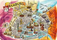 Hamburg Sehenswürdigkeiten Karte - ak ansichtskarte hamburg stadtplan innenstadt mit