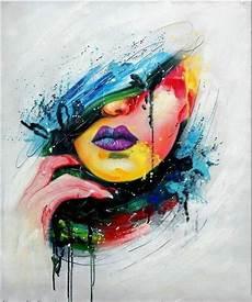 peinture femme moderne tableau peinture portrait visage femme pop huile sur toile