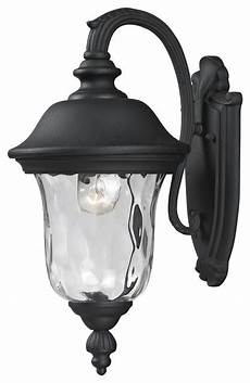 black armstrong 1 light outdoor wall sconce with clear water glass shade traditional outdoor