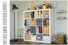 pottery barn inspired expedit for craft storage pottery