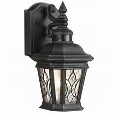 progress lighting cranbrook collection 1 light outdoor gilded iron motion sensor wall lantern