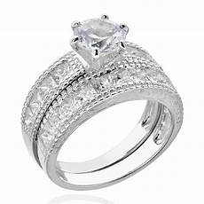 princess cz sterling silver wedding