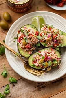 tuna avocado boats a beautiful plate