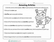 articles a and an worksheets for grade 3 corresponding strategies