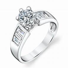 contemporary sterling silver baguette cz engagement wedding ring cubic zirconia ebay