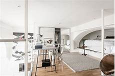 chic scandinavian studio with lofted studio apartment with a great room height