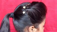 side puff with ponytail hairstyle small hairstyle youtube