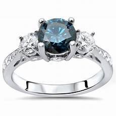 certified 14k white gold 1 1 4ct tdw blue three stone round diamond engagement ring round