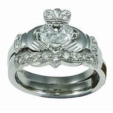 14k white gold claddagh diamond engagement ring wedding