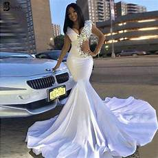 long prom dresses 2019 sexy v neck crystals new design elegant african white mermaid prom dress