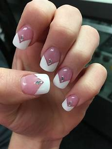 white v french tip acrylic nails with rhinestones french