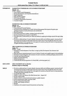 marketing summer internship resume sles velvet