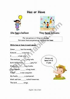 using has or have esl worksheet by lindseybristow4