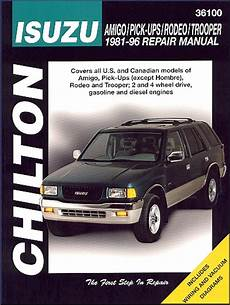 book repair manual 1992 isuzu rodeo on board diagnostic system isuzu rodeo amigo trooper pickup repair manual 1981 1996
