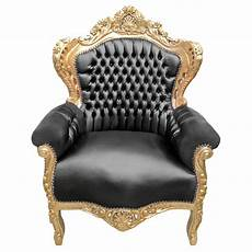 grand fauteuil de style baroque tissu simili cuir noir et