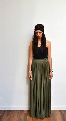 Khaki Skirt Maxi Skirt High Waist Green Jersey