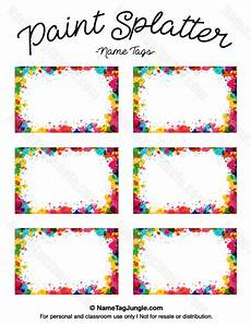 free printable paint splatter name tags the template can also be used for creating items like