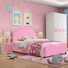 shop costway kids children pu upholstered platform wooden princess bed bedroom furniture pink
