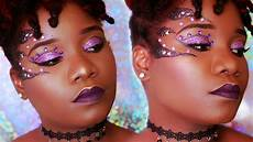 purple glitter carnival makeup tutorial