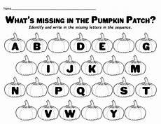 missing letter worksheets kindergarten 23183 quot missing letters in the pumpkin patch quot printable alphabet worksheet supplyme