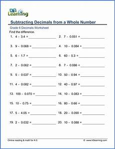 grade 6 math worksheet decimals subtracting decimals from a whole number k5 learning
