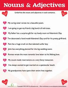 s day adjectives worksheets 20304 s day grammar valentines day activities nouns adjectives valentines