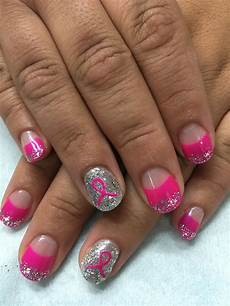bright pink high french pink ribbon silver glitter gel