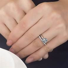 3ct center brilliant cut nscd sona diamond engagement wedding rings with eternity