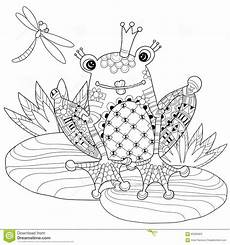 frog prince in crown with lotus stock vector image