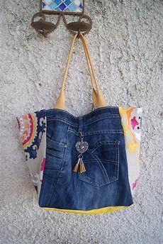 sac cabas en jean et tissu mandala sac cabas sac en