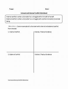 internal and external conflict worksheet conflict in literature reading worksheets 8th grade ela
