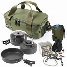 ngt carp fishing cing 3pc kettle pot pan stove gas
