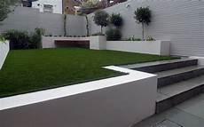 Modern Small Garden Design Artificial Grass Raised Beds