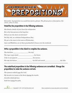 grammar worksheets 5th grade free printable 25111 grammar review prepositions worksheet education