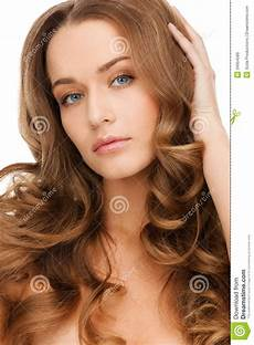 beautiful calm with curly hair stock image image of makeup 34954589