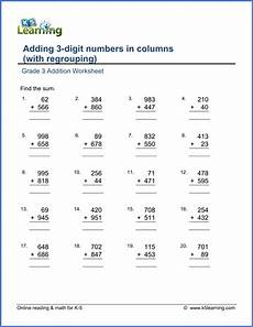 math worksheets for grade 3 addition with regrouping grade 3 addition worksheet adding 3 digit numbers in