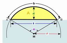 geometry calculate circle segment area determine