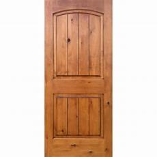 krosswood doors 36 in x 96 in knotty alder 2 panel top rail arch v groove solid right hand