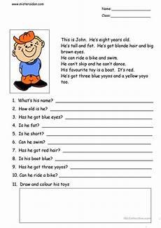 this is simple reading comprehension worksheet free esl printable worksheets made by