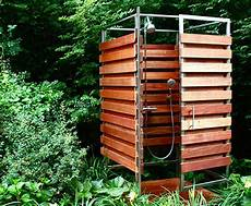 sleek sustainable prefab outdoor shower assembles in 30