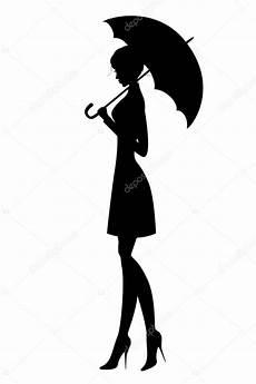 Le Frau Mit Schirm - silhouette de la fille avec parapluie image
