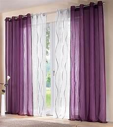 lila gardinen 2 st voile gardine vorhang 140 x 245 wei 223 lila bestickt