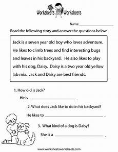 reading comprehension practice worksheet printable reading comprehension test reading