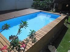 Pool In Erde Einbauen - pooldeck on intex above ground swimming pool 24 x12 x52